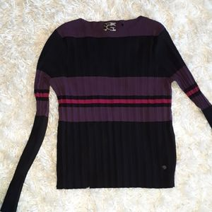Poools knit pleated striped sweater